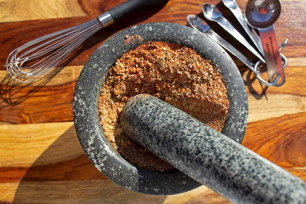 spice rub in mortar and pestle