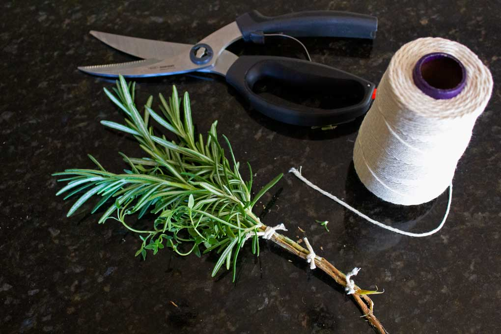 herb brush with twine and scissors