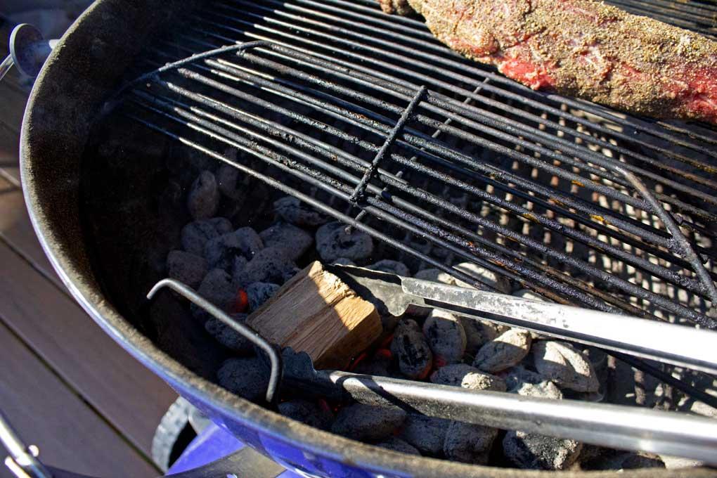 cherry wood chunk on hot coals