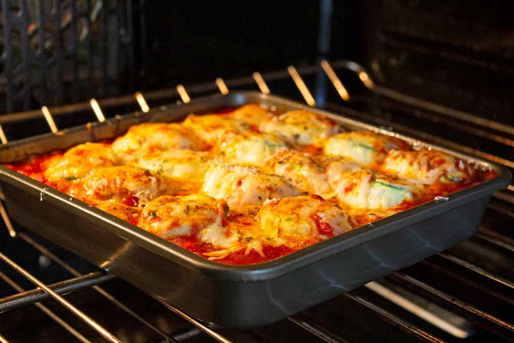 baking zucchini lasagna rolls