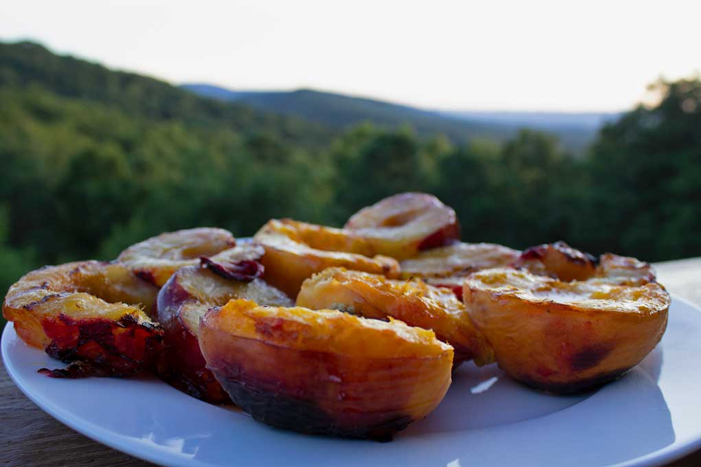grilled peaches and plums with mountain view
