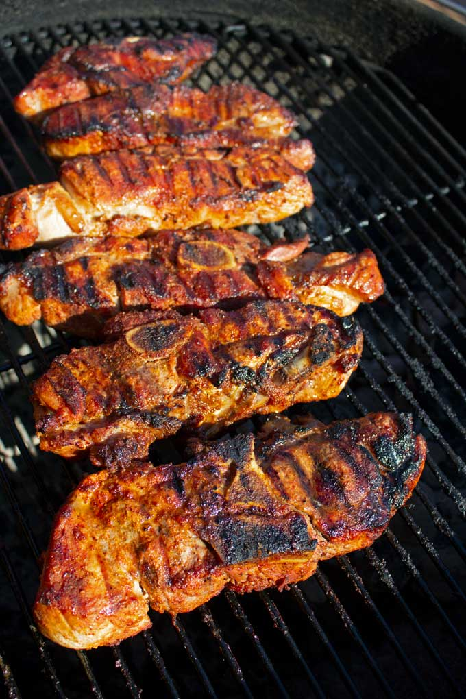 grilled country-style pork ribs on grill