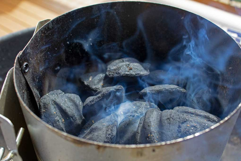 smoking chimney of Kingsford Charcoal
