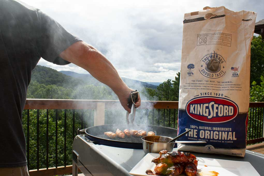 smoking grill with Kingsford Charcoal bag