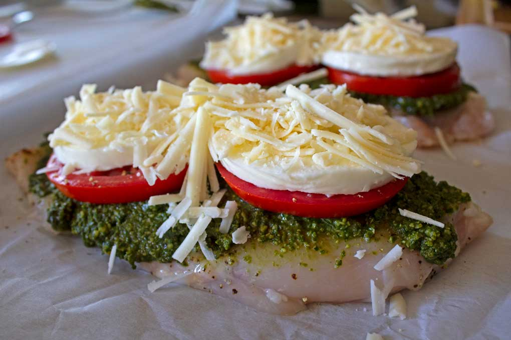 chicken breasts with pesto tomato and cheese
