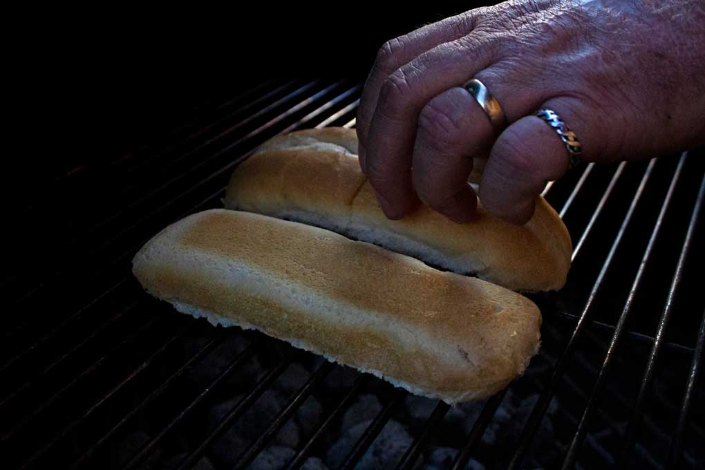 toasting roll on grill