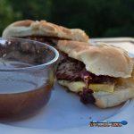 smoked brisket French dip sandwich