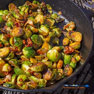 Grilled Brussels Sprouts with Bacon & BBQ Sauce