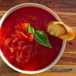 bowl of grilled tomato soup with grilled toast