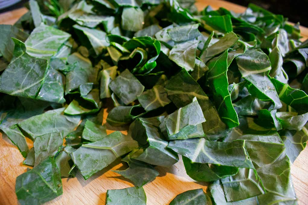 ribbons of collard leaves