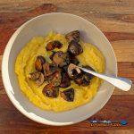 bowl of creamy polenta with mushrooms