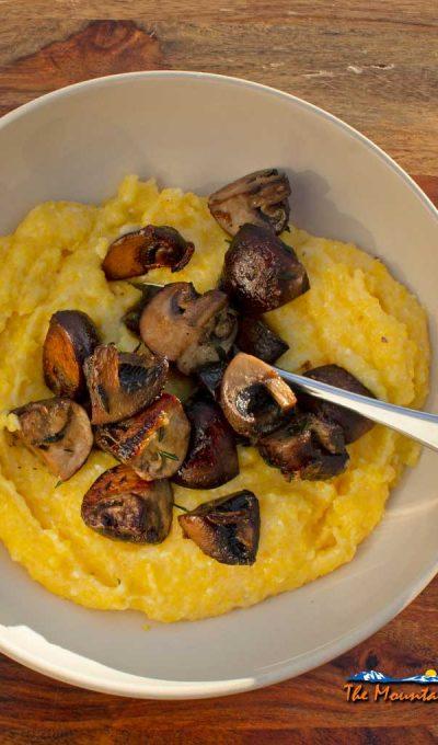 Creamy Polenta With Mushrooms  {A Meatless Monday Recipe
