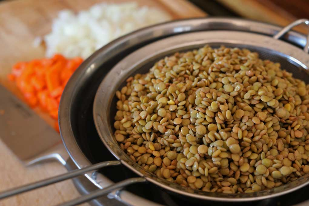 drained lentils ready to cook