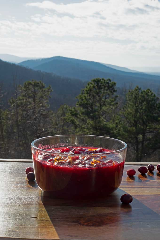 bowl of sauce with mountain view